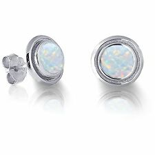Round Cut Australian White Fire Opal Genuine Sterling Silver Earring Studs
