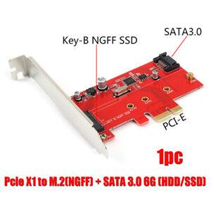 Pcie X1 to M.2(NGFF) + SATA 3.0 6G (HDD/SSD) PCI-Express Card w/Profile Bracket
