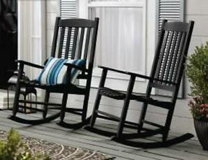 Outdoor Wood Porch Rocking Chair Weather Resistant Support Up To 250 lbs