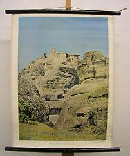 Belle ancienne la fresque METEORA Monastère grimper Grèce 55x72 Vintage ~ 1960