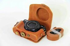 Band Camera Bag Retro Leather Case Pouch for Canon Powershot G7 X Mark II Brown