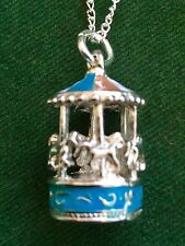 Carousel merry-go-round enameled 3D pendant necklace handmade silver plate