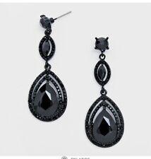 """2.25"""" Long BLACK Jet Rhinestone Crystal Wedding Dangle Pageant Drop Earrings"""