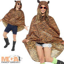 Tiger Party Poncho Festival Fancy Dress Adults Mens Ladies Animal Costume Outfit