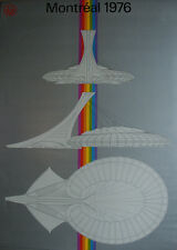 Montreal 1976 Olympic RARE LARGE SILVER STADIUM RAINBOW Poster Original Oficial