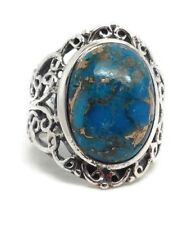 Mohave turquoise solid Sterling Silver ring, UK size N, oval, new, Actual One.