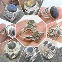 925 SOLID STERLING SILVER HANDMADE LABRADORITE RING VALENTINE DAY GIFT SIZE 7-9