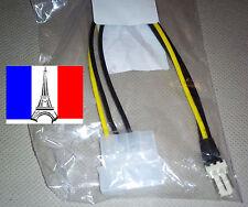 Câble connecteur alim ventilateur 4 broches Molex IDE vers 3 pin mâle FAN x1