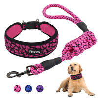 Wide Nylon Reflective Dog Collar and Leash set Soft Mesh Adjustable for Bulldog