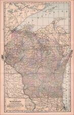 WISCONSIN, LARGER ANTIQUE MAP, ORIGINAL 1901