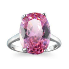 Super Huge Natural Pink Topaz Silver Wedding Woman Ring Size 6 7 8 9 10