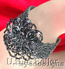 R114Silver Gray Seed Beads hand made Stretch Bracelet fit any size