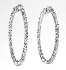 in 18k White Gold (D 2.85ct) Hoop Earring with Inside and Out Diamond