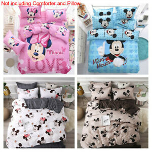 Disney Cartoon Mickey Mouse Minnie Duvet Cover Sets Bed Flat Sheet Pillow Cases