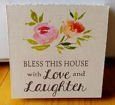 "BELLE MAISON WOOD SIGN PICTURE ""BLESS THIS HOME WITH LAUGHTER AND LOVE"" PLAQUE"