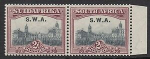 S.W.A. 1927 KGV 2d grey & maroon bilingual pair MLH. SG 60. Sc 99.