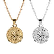 AU_ SAINT CHRISTOPHER PROTECT Pendant Necklace Women Men Chain Amulet Jewelry La