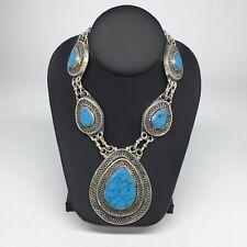 Cab Turquoise Inlay Kuchi Necklace Tn251 Turkmen Necklace Afghan Ethnic Tribal 5