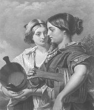 Scotland, PRETTY YOUNG FARM GIRLS LASSIES Sisters ~ Old 1867 Art Print Engraving