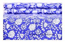 Indio Hecho a Mano Floral Algodón Bloque Impreso Tela para Confección Craft 2.7m