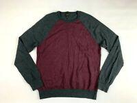 J. Crew Sweater XL Mens Slim Fit Merino Wool Gray Crewneck Raglan Sleeves C9989