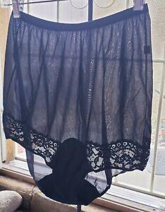 VTG 50s 60s Vanity Fair Black Nylon Mushroom Gusset Pillow Tab Granny Panties 6
