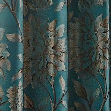 Elanie Large Floral Pattern Metallic Jacquard Ring Top Eyelet Pair Of Curtains