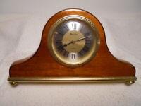 """Handsome 10"""" Long Bulova Quartz Laquerd Wood Table or Desk Clock"""