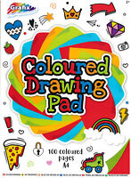 100 Sheets A4 Bright Primary Coloured Paper Kids Drawing Craft Pad Art Book 0163