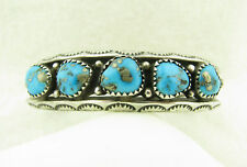 Vintage Signed B Navajo 5 Stone Morenci Turquoise Stamped Sterling Cuff Bracelet