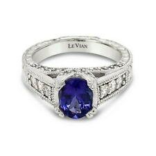 Levian 14K белое золото синий цейлонский сапфир круглый бриллиант классический коктейль кольцо
