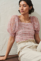 NWOT H&M Pink Floral Tulle Pleated Puff Sleeve Smocked Blouse Tank Top, Size M