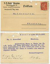 23767 - Mi.Nr. 163 - Postkarte - Breslau 17.11.1921 nach Nürnberg - Zipfelmützen