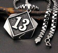 Men's 316L Stainless Steel Lucky 13 UL 13 Thirteen Biker Pendant Necklace Chain