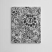 "16X20"" Gallery Art Canvas: Takashi Murakami X MADSAKI Flowers Black Contemporary"