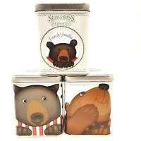 3 Swiss Miss Hot Cocoa Collectible Christmas Holiday Tins Featuring Brown Bear