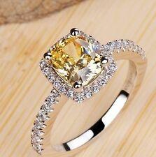 Charming Women  Silver Plated Princess Cut Citrine Ring Wedding Jewelry Sz 6-10