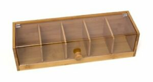 """Lipper International 8187 Bamboo Wood and Acrylic Tea Box with 5 Sections 14""""..."""