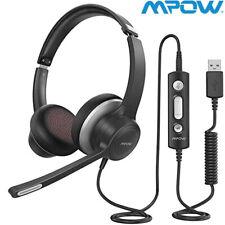 Mpow HC6 USB 3.5mm Headset On-Ear Headphone Noise Canceling Microphone For Skype
