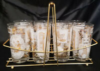 MID CENTURY 17 PIECE TUMBLER AND JUICE GLASS SET WITH CADDY