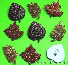 GLITTER AUTUMN LEAVES - Indian Summer Fall Brown Gold Dress It Up Craft Buttons
