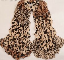 Brand New Ladies Brown Leopard Animal Print Long Scarf/ Shawl