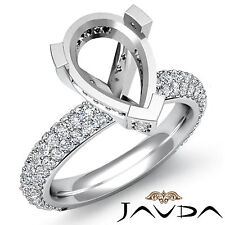 Pear Semi Mount Pre-Set Side Diamond Engagement Women Ring 18k White Gold 1.45Ct