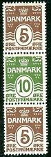DENMARK Facit 95SX4, se-tenant Strip of 3 NH/LH