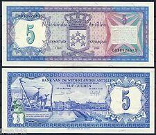 ANTILLAS HOLANDESAS NETHERLANDS ANTILLES 5 gulden 1984  Pick 15 b   SC / UNC