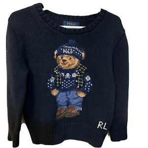 Polo Ralph Lauren Boys Limited RLX Ski Bear Navy Polo Bear Sweater Size 4/4T
