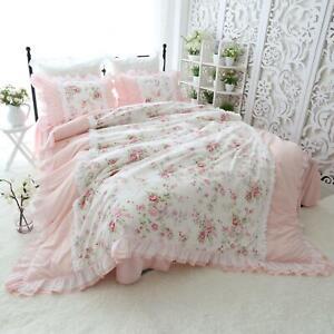 Pink Flower Ruffled Duvet Cover Bedskirt Princess Bedding Sets Queen King Size
