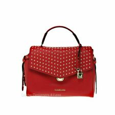 New Michael Kors Bristol Medium Studded Bright Red Leather Satchel