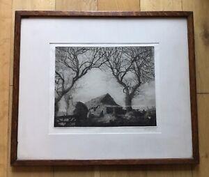 Joseph Knight (1837?-1909) Listed British Artist The Fylde Farm Signed Etching