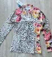 Johnny Was Oksana Long Sleeve Surf Shirt Swim Water Ocean Butterfly Top M New